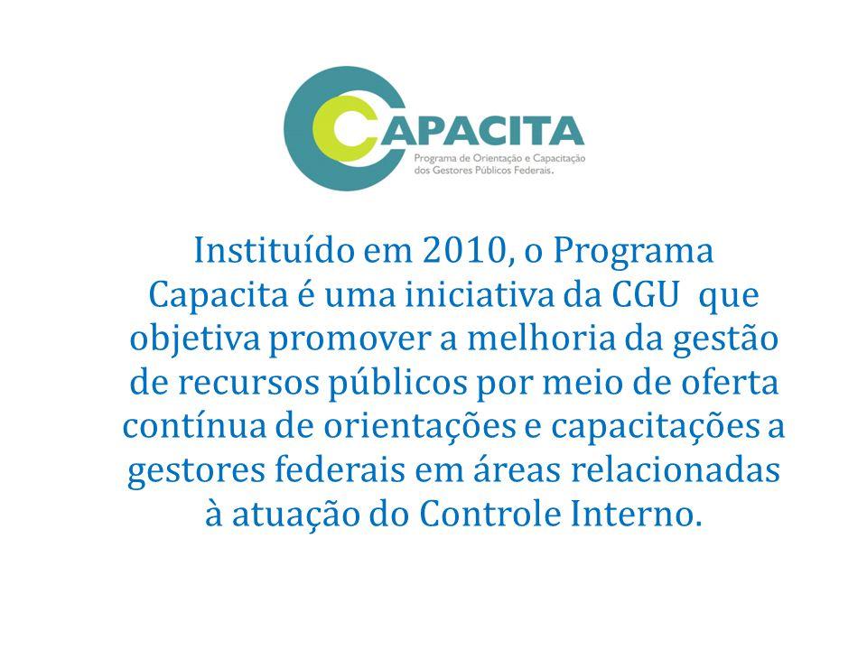 Instituído em 2010, o Programa Capacita é uma iniciativa da CGU que objetiva promover a melhoria da gestão de recursos públicos por meio de oferta contínua de orientações e capacitações a gestores federais em áreas relacionadas à atuação do Controle Interno.
