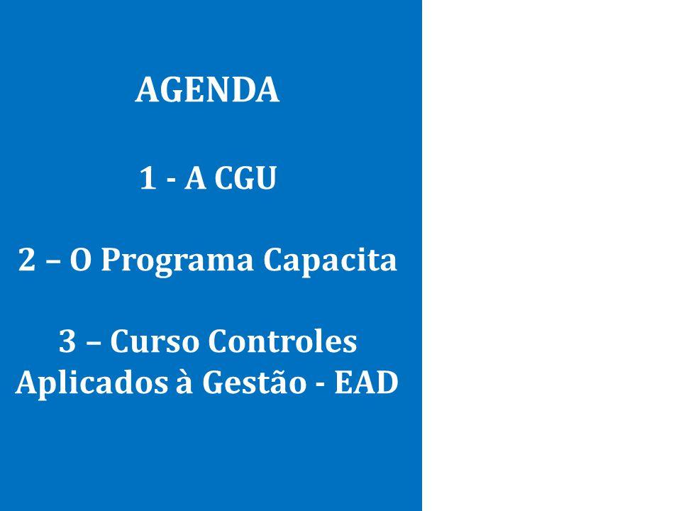 AGENDA 1 - A CGU 2 – O Programa Capacita 3 – Curso Controles Aplicados à Gestão - EAD