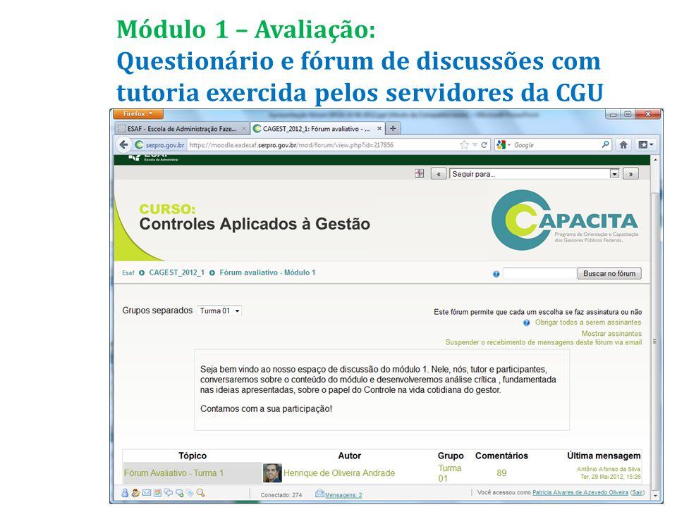Questionário e fórum de discussões com tutoria exercida pelos servidores da CGU Módulo 1 – Avaliação: