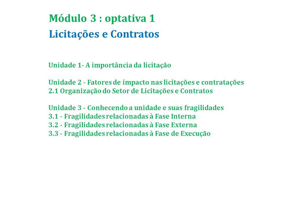 Licitações e Contratos Módulo 3 : optativa 1 Unidade 1- A importância da licitação Unidade 2 - Fatores de impacto nas licitações e contratações 2.1 Organização do Setor de Licitações e Contratos Unidade 3 - Conhecendo a unidade e suas fragilidades 3.1 - Fragilidades relacionadas à Fase Interna 3.2 - Fragilidades relacionadas à Fase Externa 3.3 - Fragilidades relacionadas à Fase de Execução