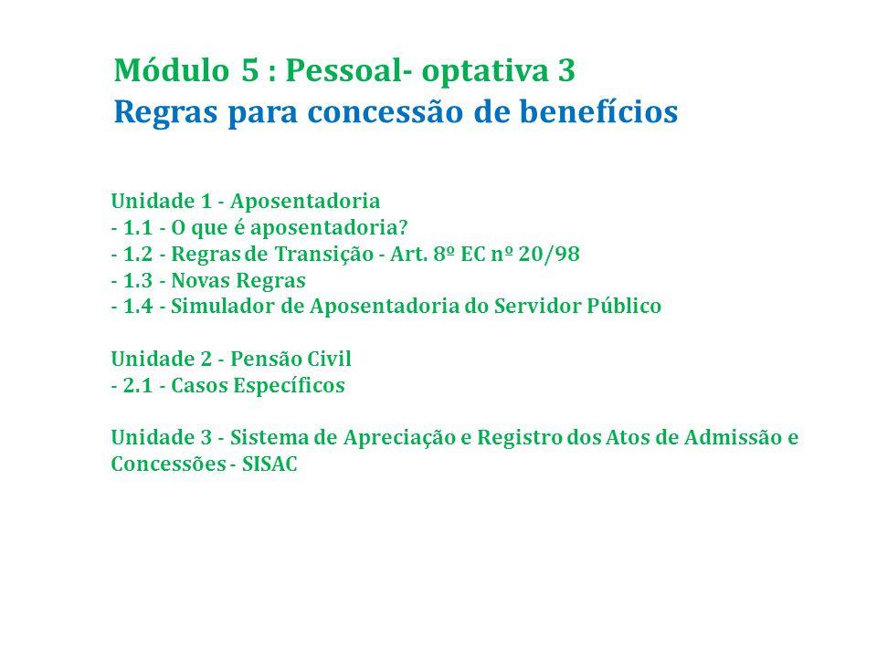 Regras para concessão de benefícios Módulo 5 : Pessoal- optativa 3 Unidade 1 - Aposentadoria - 1.1 - O que é aposentadoria.