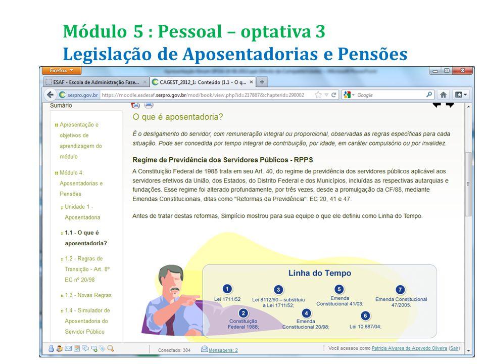 Legislação de Aposentadorias e Pensões Módulo 5 : Pessoal – optativa 3