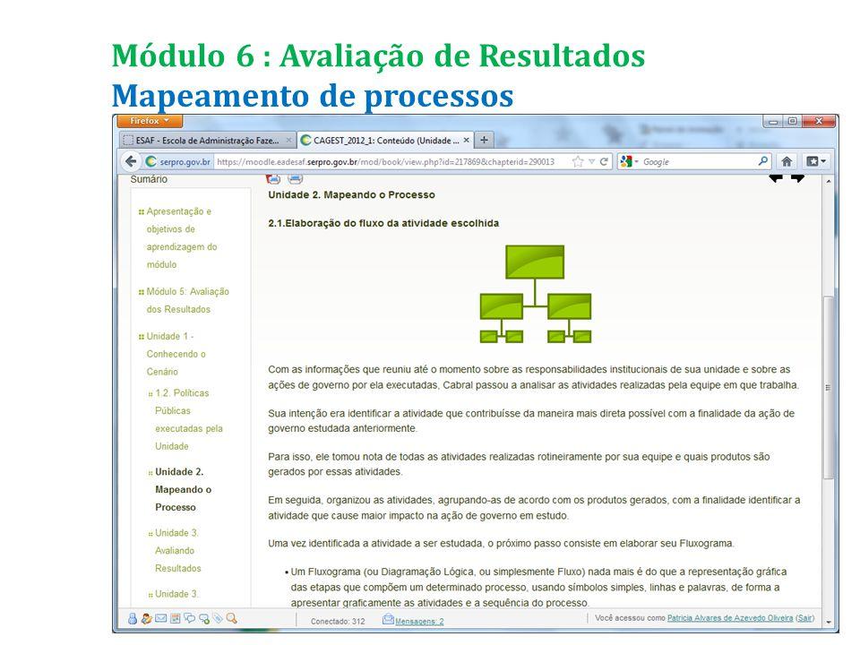 Mapeamento de processos Módulo 6 : Avaliação de Resultados