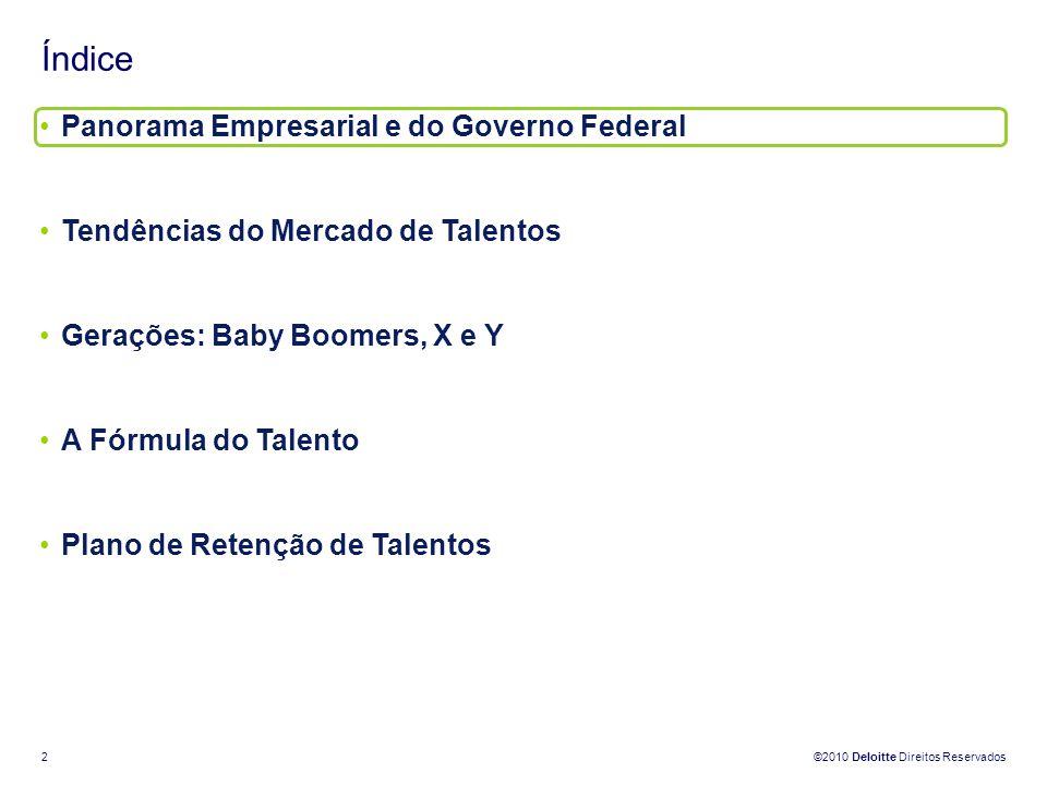 ©2010 Deloitte Direitos Reservados 2 Índice Panorama Empresarial e do Governo Federal Tendências do Mercado de Talentos Gerações: Baby Boomers, X e Y