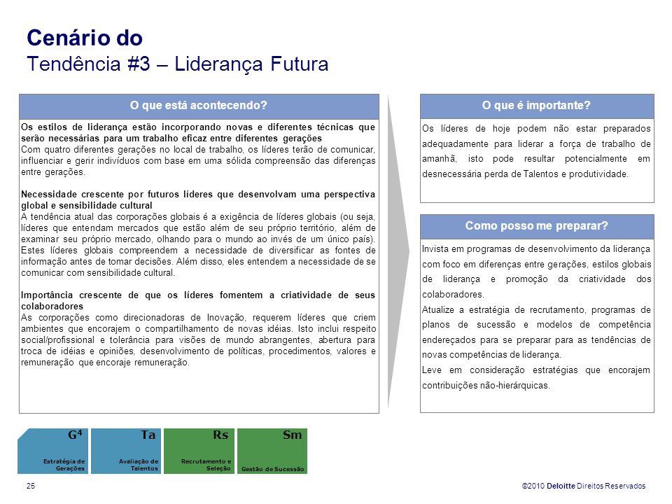 ©2010 Deloitte Direitos Reservados 25 Cenário do Tendência #3 – Liderança Futura O que está acontecendo? Os estilos de liderança estão incorporando no