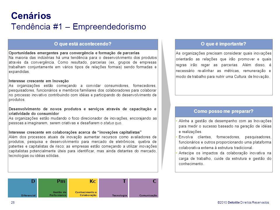 ©2010 Deloitte Direitos Reservados 26 Cenários Tendência #1 – Empreendedorismo O que está acontecendo? Oportunidades emergentes para convergência e fo
