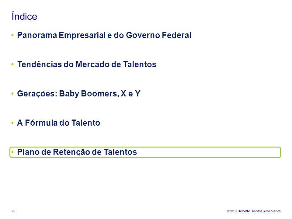 ©2010 Deloitte Direitos Reservados 28 Índice Panorama Empresarial e do Governo Federal Tendências do Mercado de Talentos Gerações: Baby Boomers, X e Y