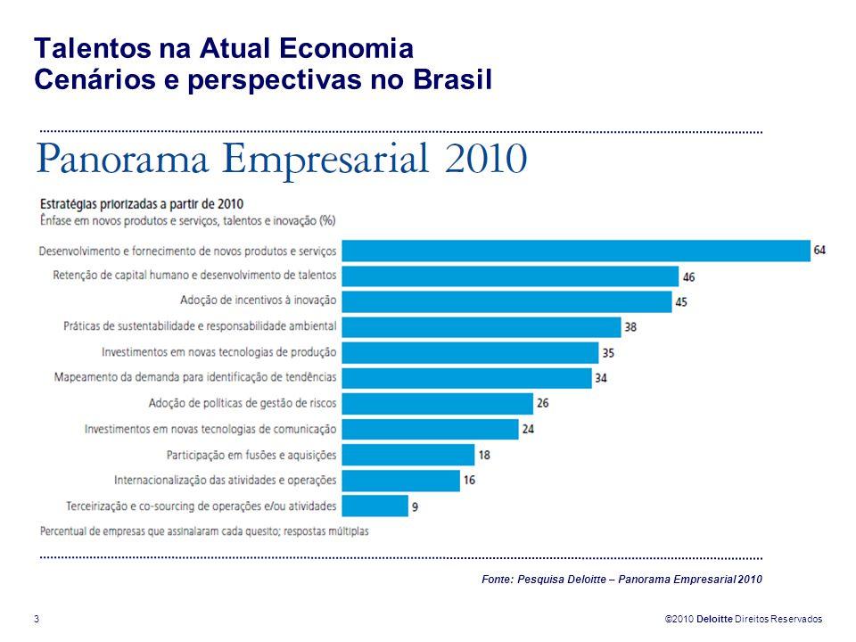 ©2010 Deloitte Direitos Reservados 3 Talentos na Atual Economia Cenários e perspectivas no Brasil Fonte: Pesquisa Deloitte – Panorama Empresarial 2010