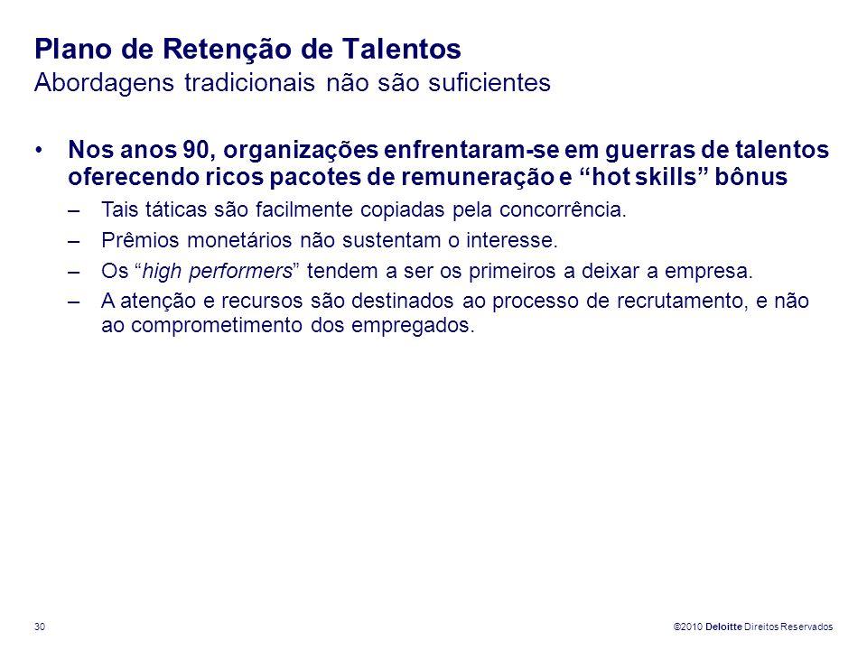©2010 Deloitte Direitos Reservados 30 Plano de Retenção de Talentos Abordagens tradicionais não são suficientes Nos anos 90, organizações enfrentaram-