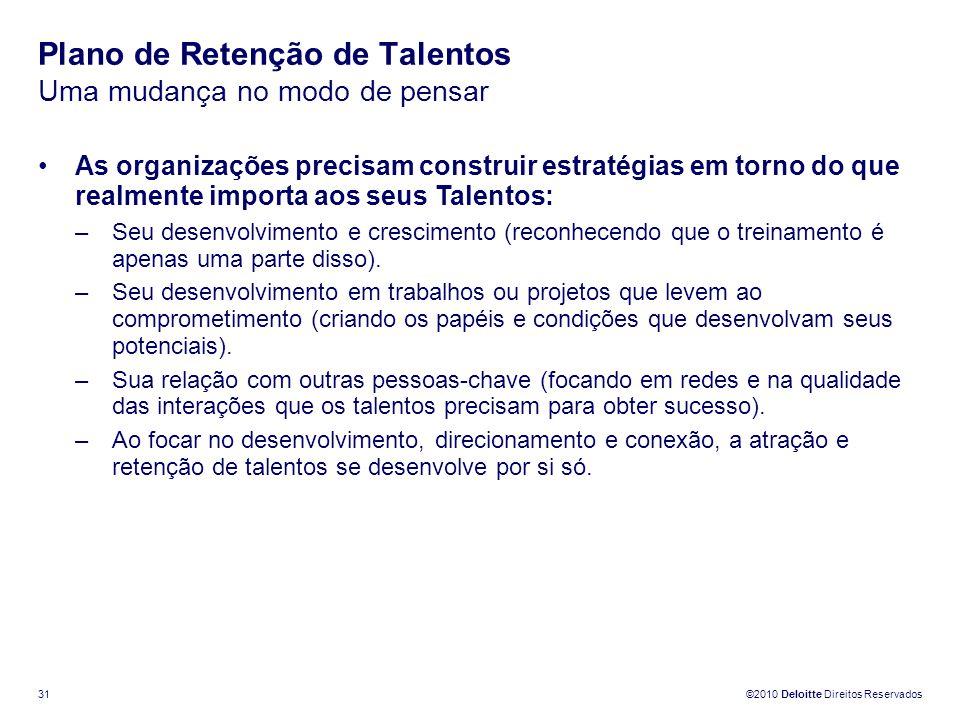 ©2010 Deloitte Direitos Reservados 31 Plano de Retenção de Talentos Uma mudança no modo de pensar As organizações precisam construir estratégias em to