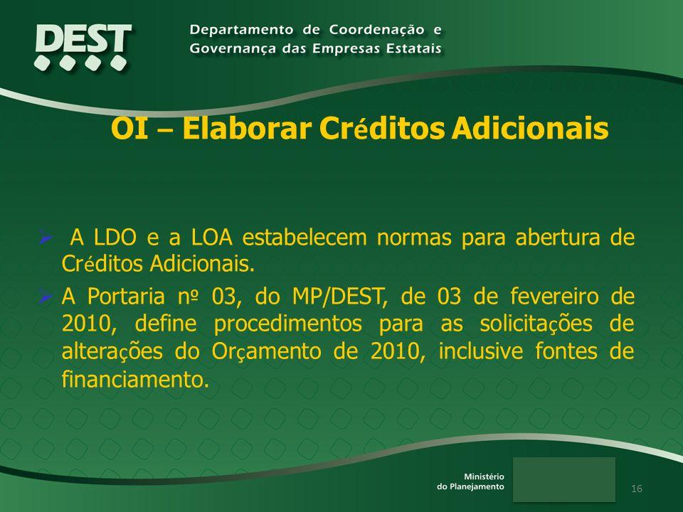 16 A LDO e a LOA estabelecem normas para abertura de Cr é ditos Adicionais. A Portaria n º 03, do MP/DEST, de 03 de fevereiro de 2010, define procedim