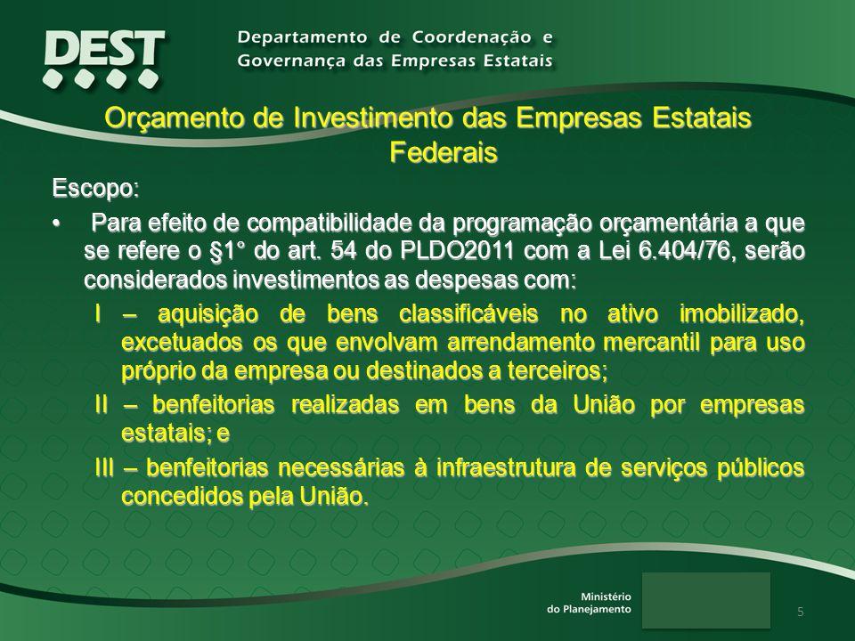 5 Orçamento de Investimento das Empresas Estatais Federais Escopo: Para efeito de compatibilidade da programação orçamentária a que se refere o §1° do