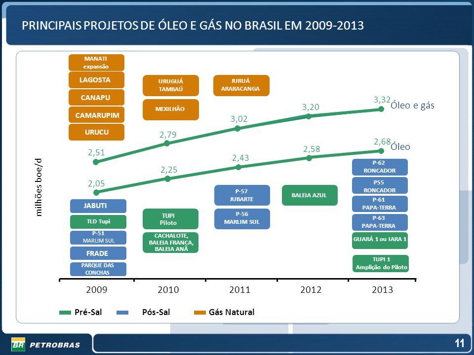 PRINCIPAIS PROJETOS DE ÓLEO E GÁS NO BRASIL EM 2009-2013 Pré-Sal Gás Natural Pós-Sal P-57 JUBARTE CACHALOTE, BALEIA FRANCA, BALEIA ANÃ TUPI Piloto BAL