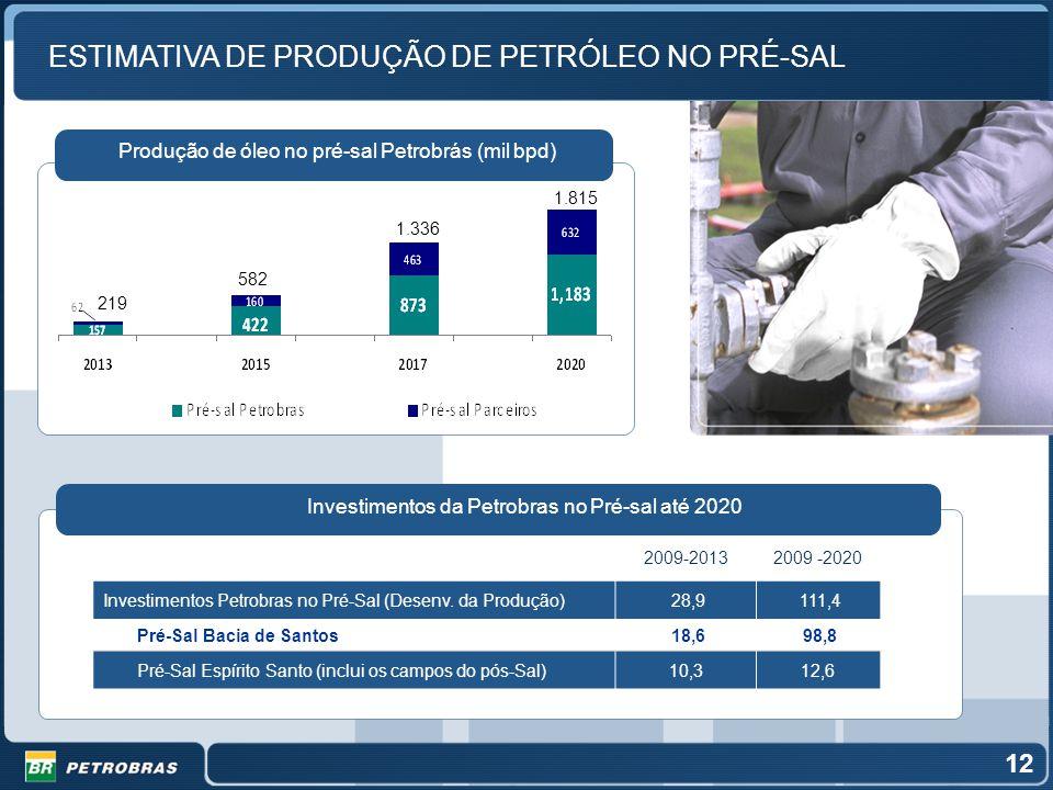 ESTIMATIVA DE PRODUÇÃO DE PETRÓLEO NO PRÉ-SAL Produção de óleo no pré-sal Petrobrás (mil bpd) 2009-20132009 -2020 Investimentos Petrobras no Pré-Sal (