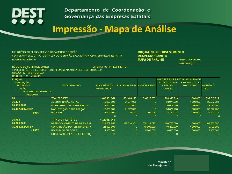 Impressão - Mapa de Análise