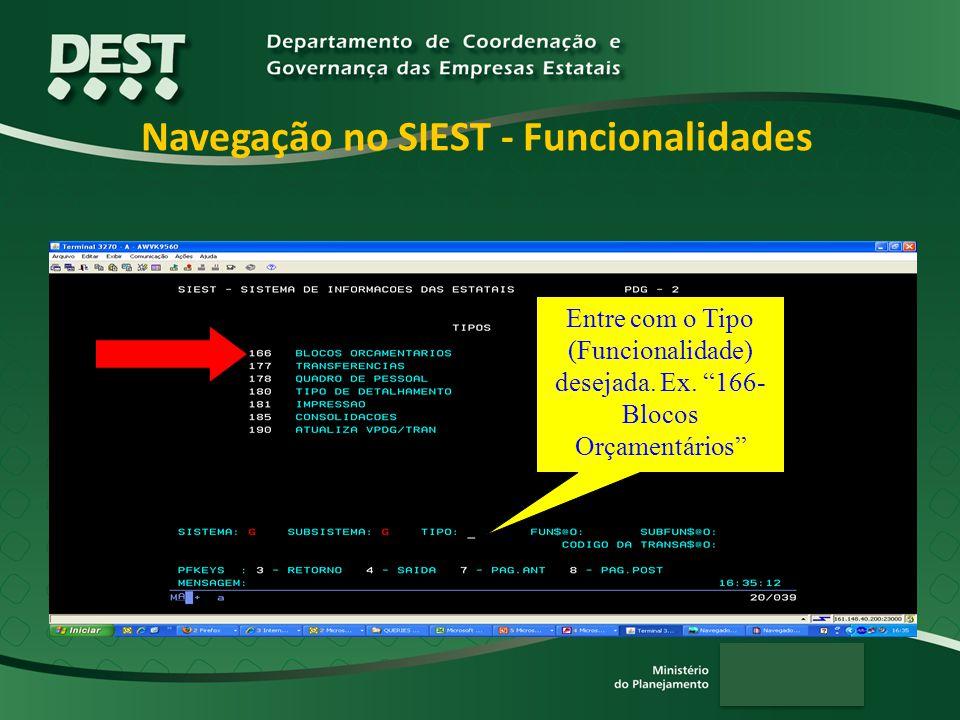 Navegação no SIEST - Funcionalidades Entre com o Tipo (Funcionalidade) desejada.