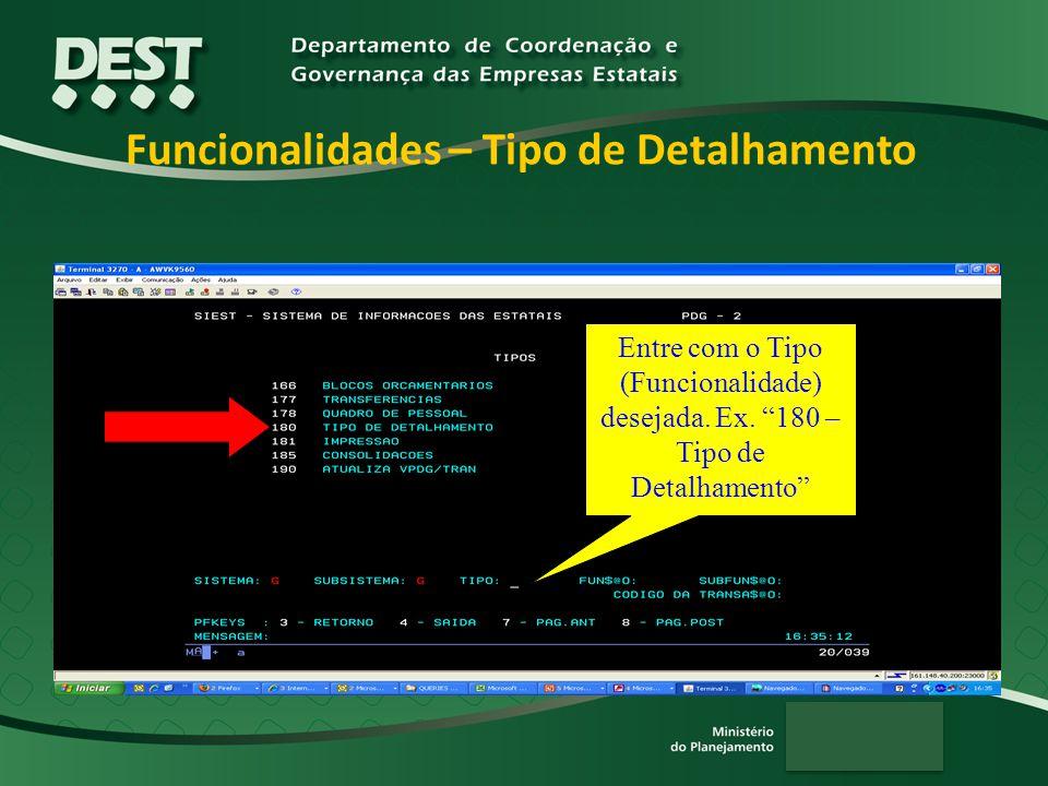 Funcionalidades – Tipo de Detalhamento Entre com o Tipo (Funcionalidade) desejada.