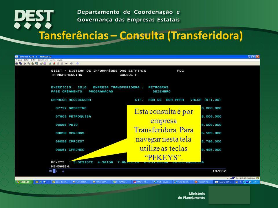 Tansferências – Consulta (Transferidora) Esta consulta é por empresa Transferidora.