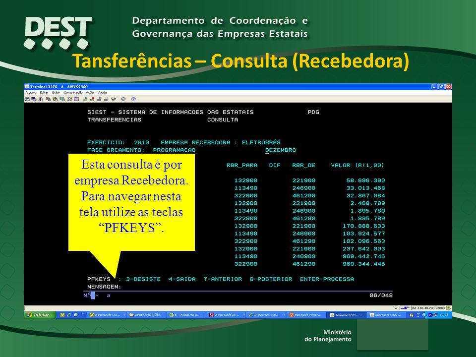 Tansferências – Consulta (Recebedora) Esta consulta é por empresa Recebedora.