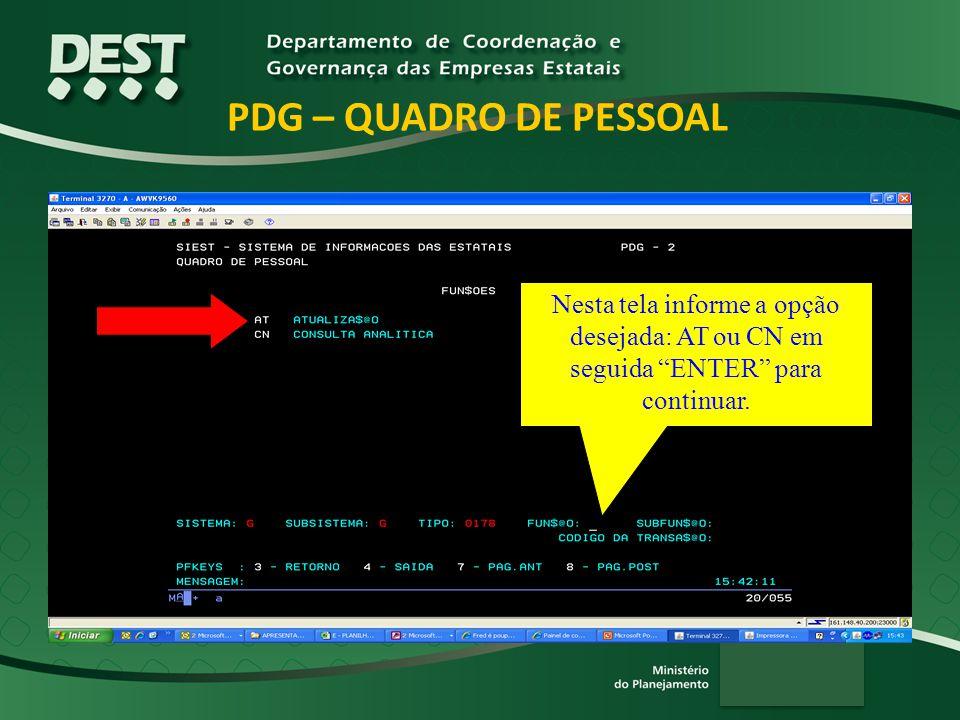 PDG – QUADRO DE PESSOAL Nesta tela informe a opção desejada: AT ou CN em seguida ENTER para continuar.