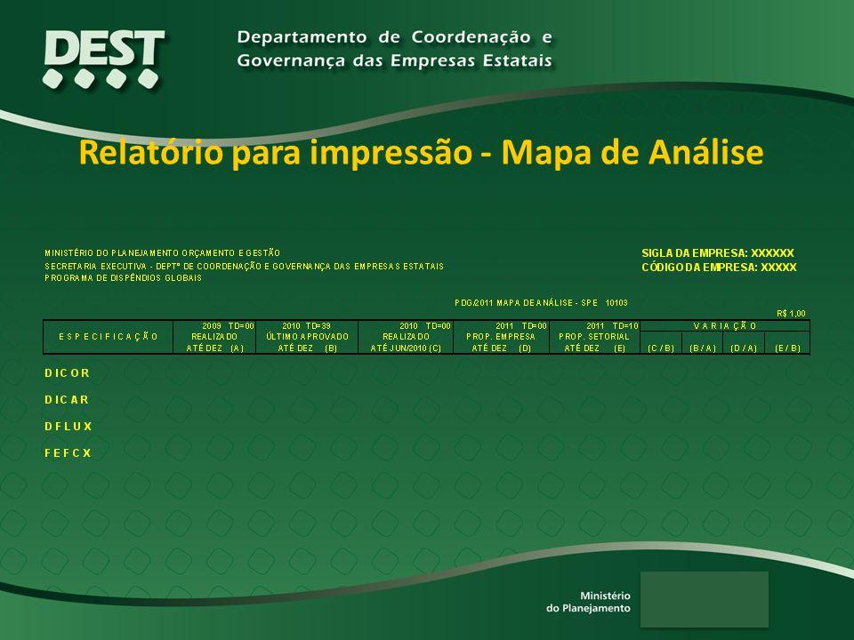 Relatório para impressão - Mapa de Análise