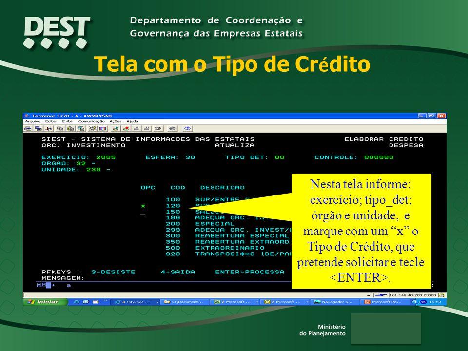 Tela com o Tipo de Cr é dito Nesta tela informe: exercício; tipo_det; órgão e unidade, e marque com um x o Tipo de Crédito, que pretende solicitar e tecle.