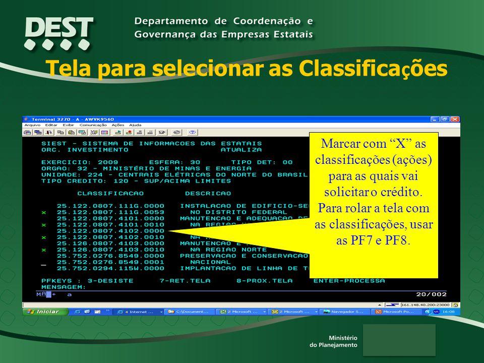 Tela para selecionar as Classifica ç ões Marcar com X as classificações (ações) para as quais vai solicitar o crédito.
