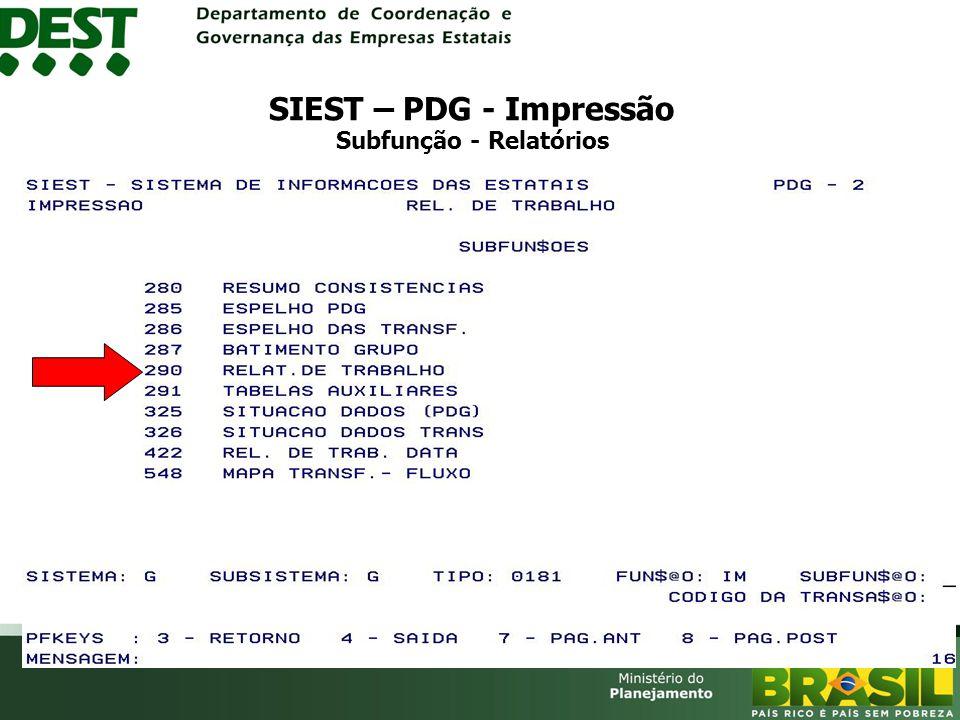 SIEST – PDG - Impressão Subfunção - Relatórios