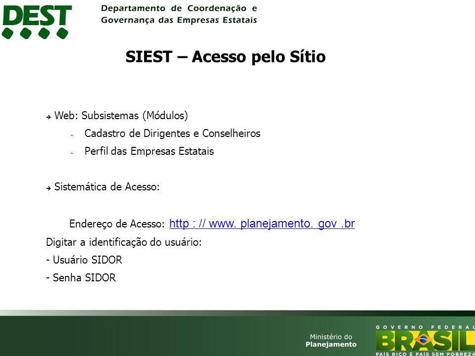 Web: Subsistemas (Módulos) Cadastro de Dirigentes e Conselheiros Perfil das Empresas Estatais Sistemática de Acesso: Endereço de Acesso: http : // www.