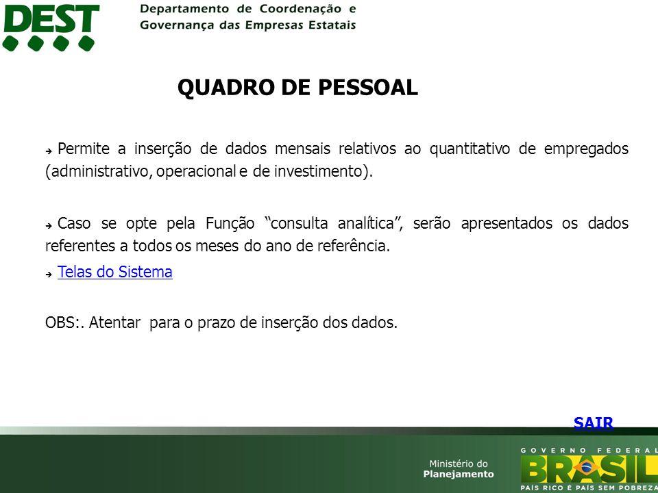Permite a inserção de dados mensais relativos ao quantitativo de empregados (administrativo, operacional e de investimento).