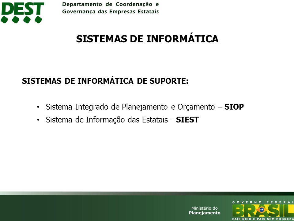 SISTEMAS DE INFORMÁTICA DE SUPORTE: Sistema Integrado de Planejamento e Orçamento – SIOP Sistema de Informação das Estatais - SIEST SISTEMAS DE INFORMÁTICA