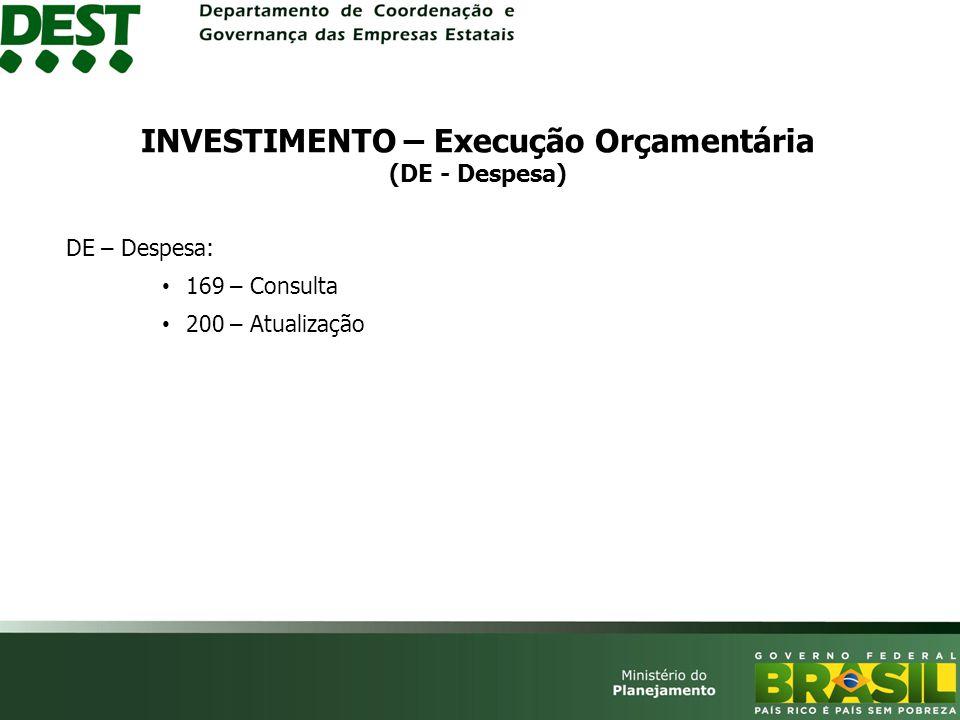 DE – Despesa: 169 – Consulta 200 – Atualização INVESTIMENTO – Execução Orçamentária (DE - Despesa)
