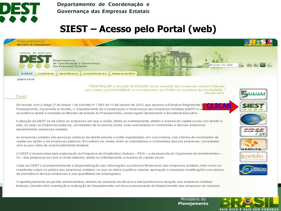 CLICAR SIEST – Acesso pelo Portal (web)