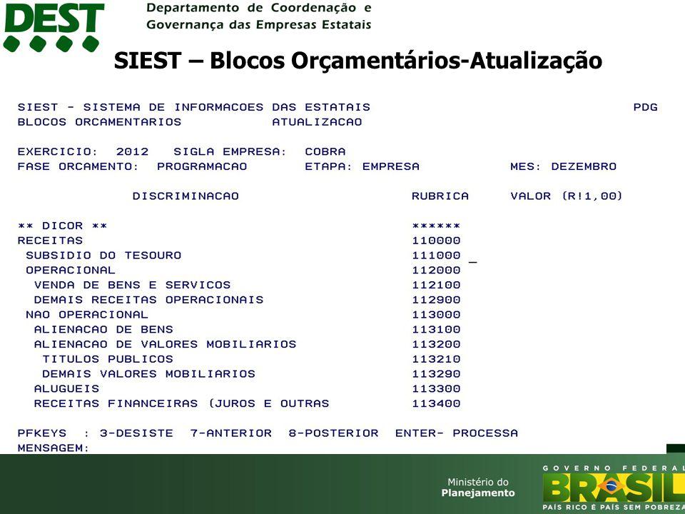 SIEST – Blocos Orçamentários-Atualização