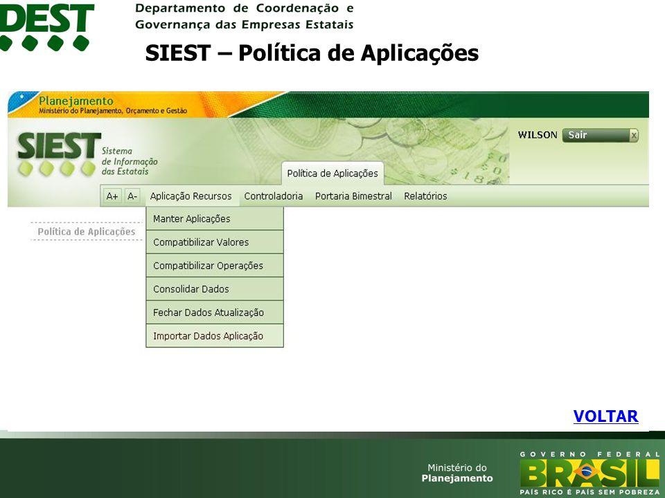 VOLTAR SIEST – Política de Aplicações