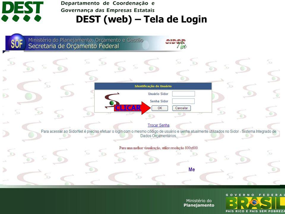 DEST (web) – Tela de Login CLICAR