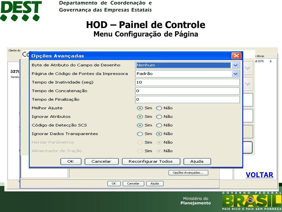 HOD – Painel de Controle Menu Configuração de Página VOLTAR