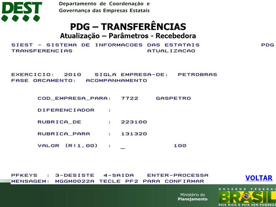 PDG – TRANSFERÊNCIAS Atualização – Parâmetros - Recebedora VOLTAR