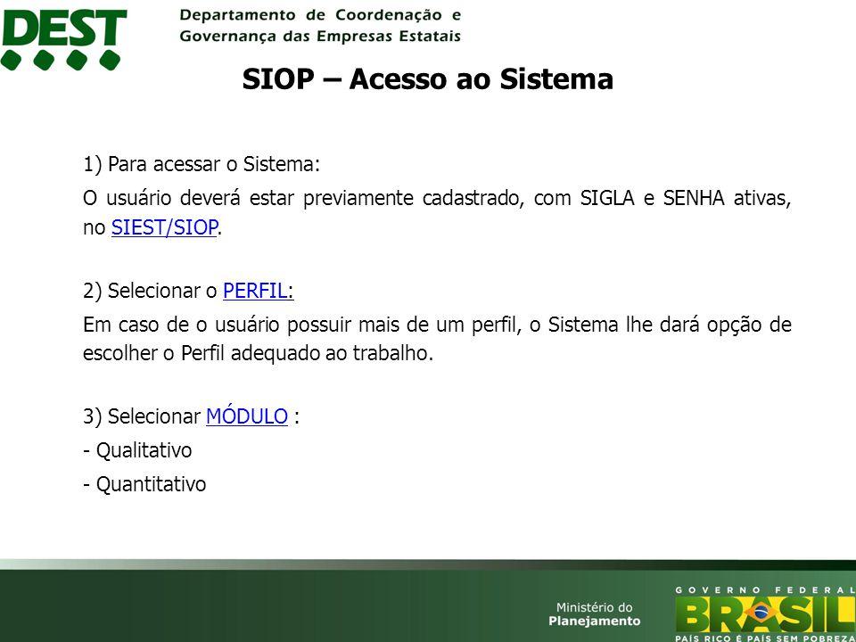 4) Barra de Menu, com as opções: Barra de Menu - Proposta - EnviarEnviar - CapturarCapturar - RetornarRetornar - RelatóriosRelatórios - Limite - AndamentoAndamento SIOP – Módulo Quantitativo (Barra de Menu)