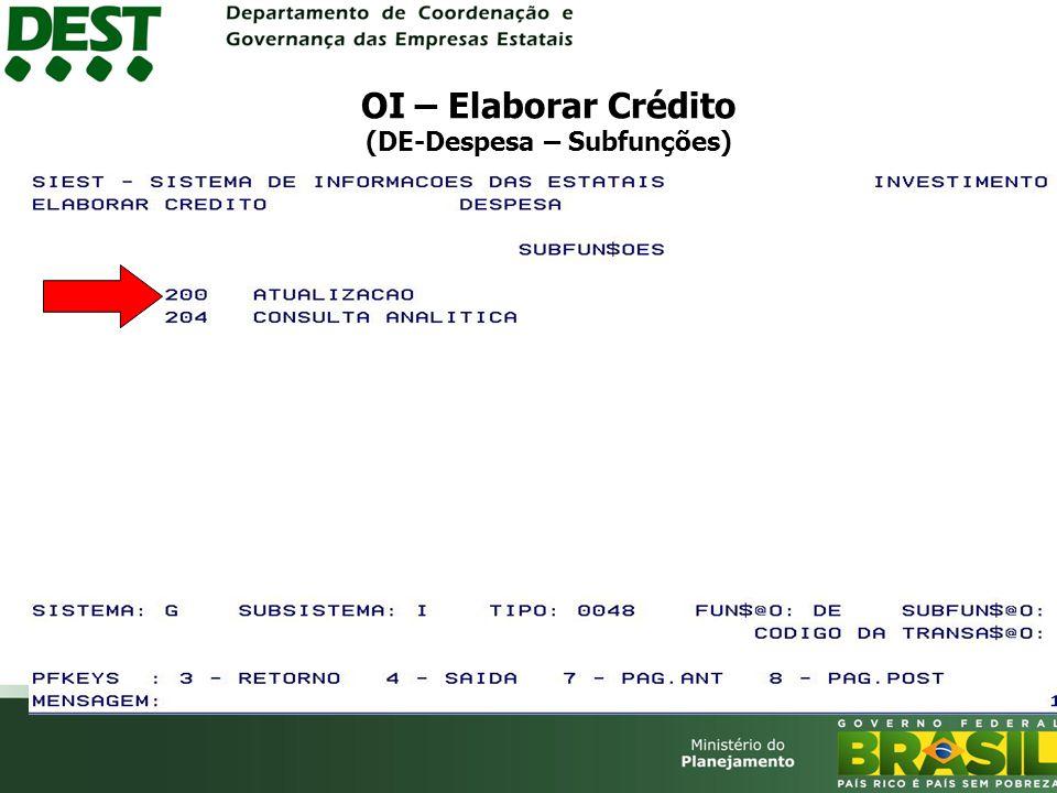 OI – Elaborar Crédito (DE-Despesa – Subfunções)