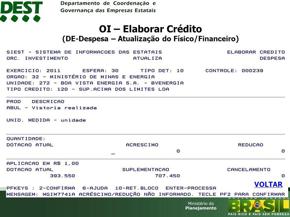 OI – Elaborar Crédito (DE-Despesa – Atualização do Físico/Financeiro) VOLTAR