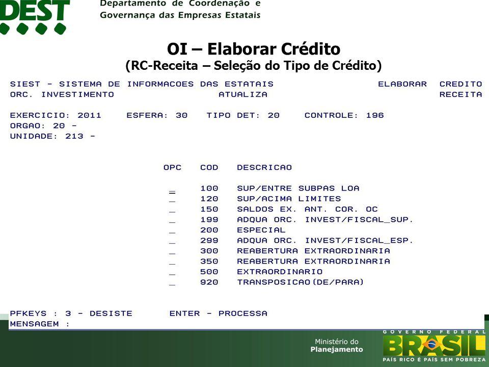 OI – Elaborar Crédito (RC-Receita – Seleção do Tipo de Crédito)