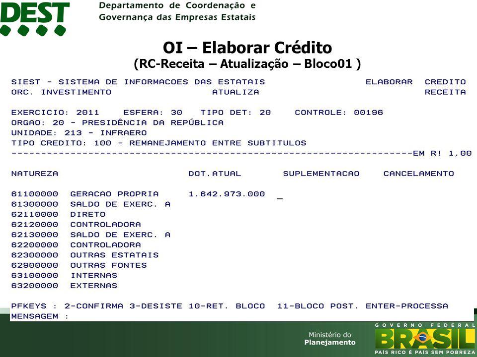 OI – Elaborar Crédito (RC-Receita – Atualização – Bloco01 )