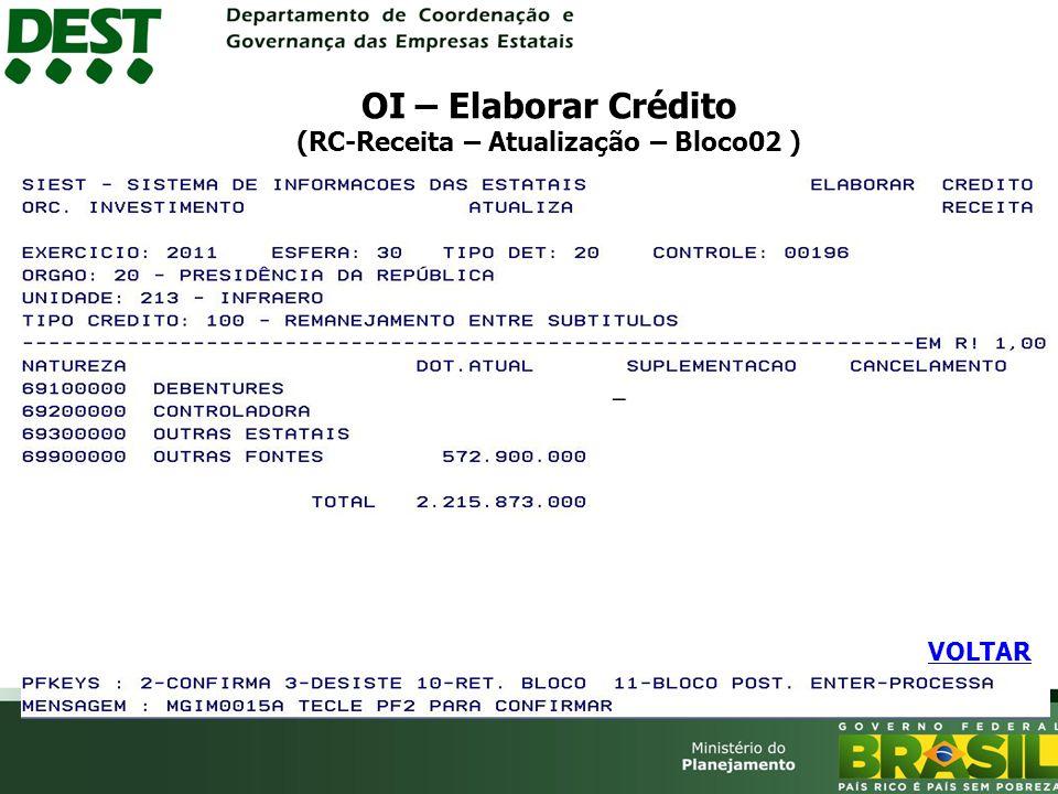 OI – Elaborar Crédito (RC-Receita – Atualização – Bloco02 ) VOLTAR