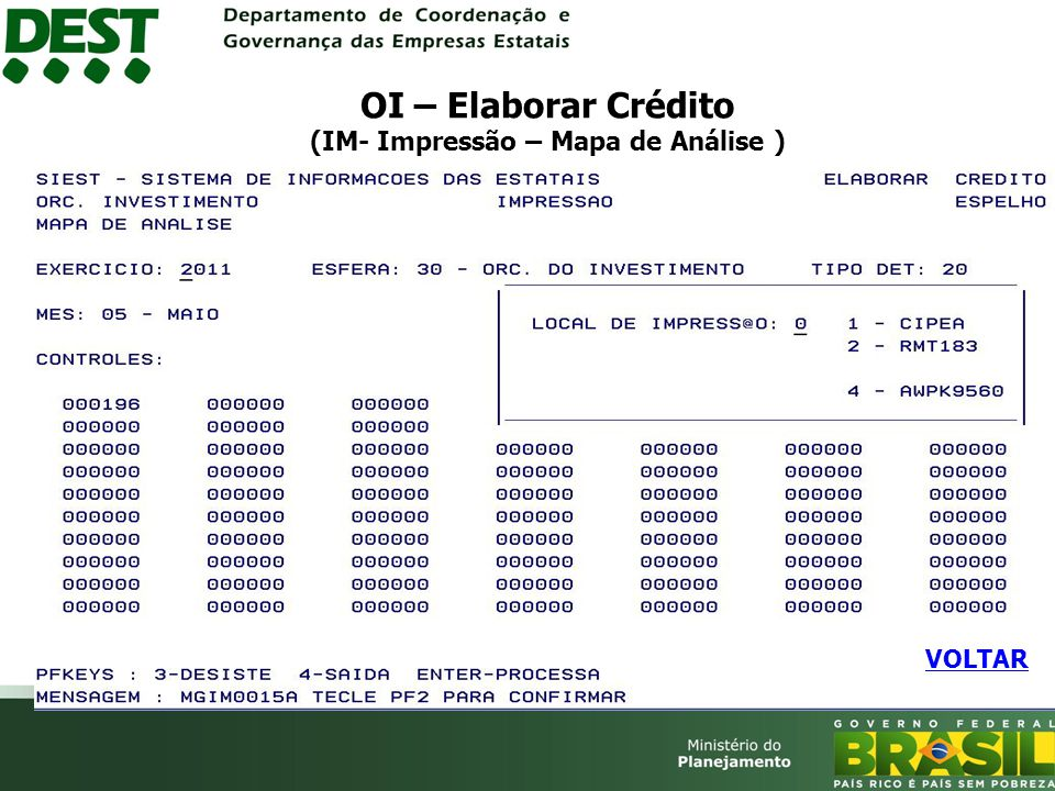 OI – Elaborar Crédito (IM- Impressão – Mapa de Análise ) VOLTAR