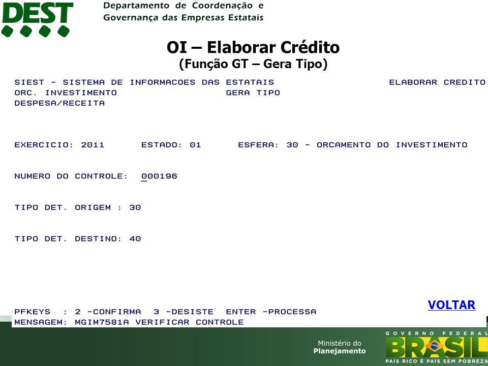 OI – Elaborar Crédito (Função GT – Gera Tipo) VOLTAR