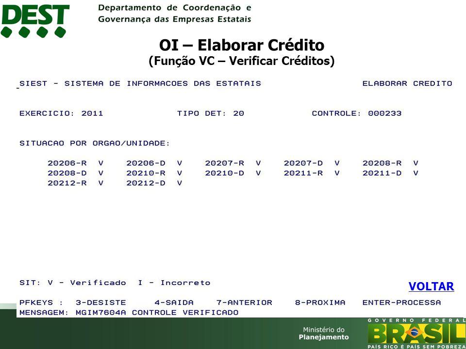 OI – Elaborar Crédito (Função VC – Verificar Créditos) VOLTAR