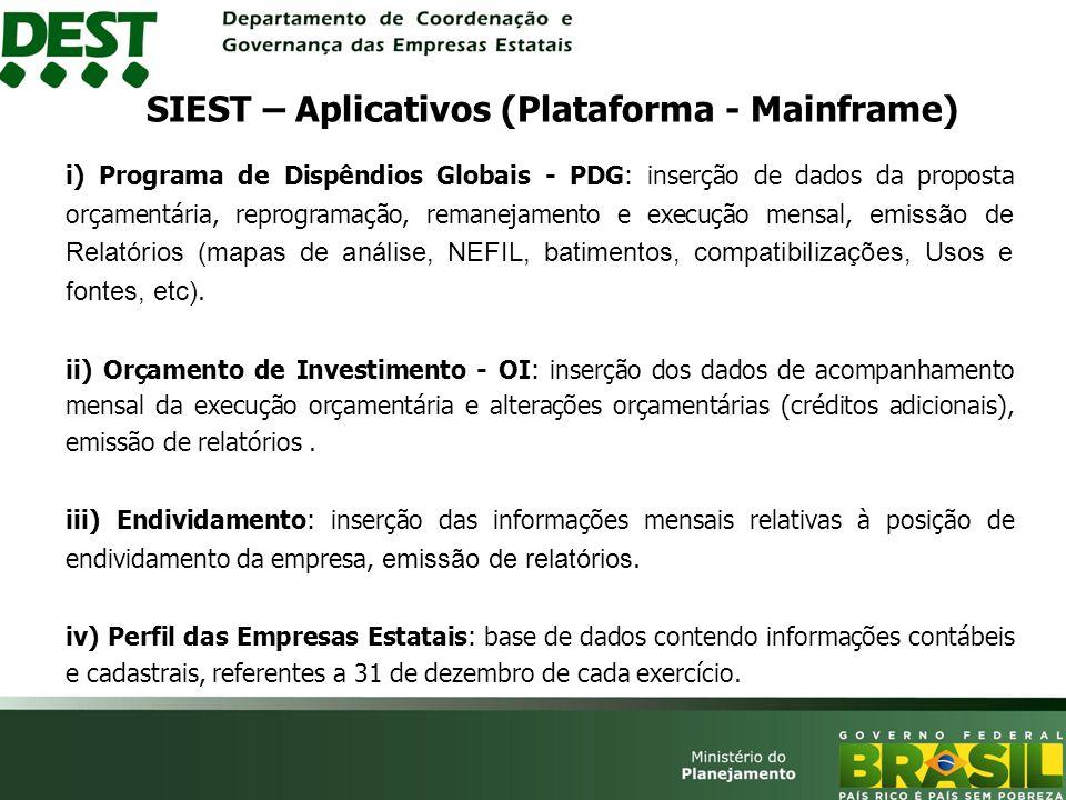 i) Programa de Dispêndios Globais - PDG: inserção de dados da proposta orçamentária, reprogramação, remanejamento e execução mensal, emissão de Relatórios (mapas de análise, NEFIL, batimentos, compatibilizações, Usos e fontes, etc).