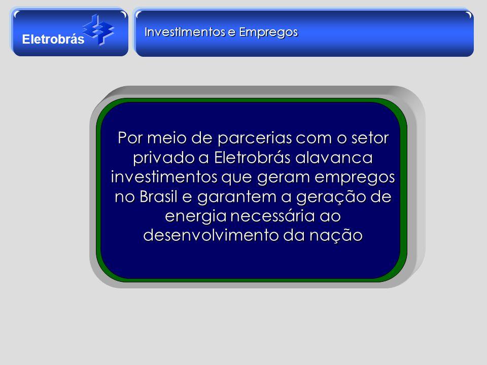 Eletrobrás Investimentos e Empregos Por meio de parcerias com o setor privado a Eletrobrás alavanca investimentos que geram empregos no Brasil e garan