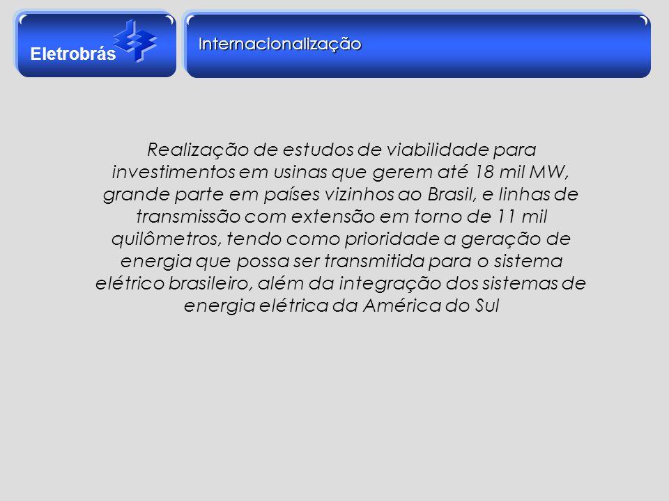 Eletrobrás Internacionalização Realização de estudos de viabilidade para investimentos em usinas que gerem até 18 mil MW, grande parte em países vizin
